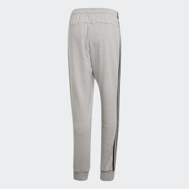 Muži Athletics šedá Kalhoty Essentials 3-Stripes Tapered Cuffed