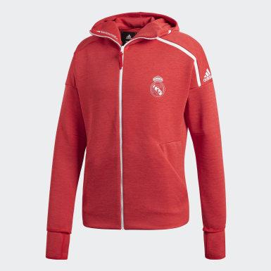 Bluza z kapturem Real Madryt adidas Z.N.E. Czerwony