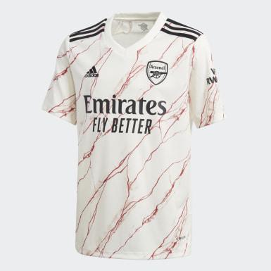 Børn Fodbold Hvid Arsenal 20/21 udebanetrøje