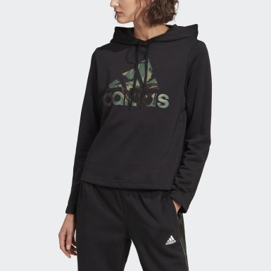 Dames Athletics Zwart adidas Essentials Camouflage Logo Hoodie