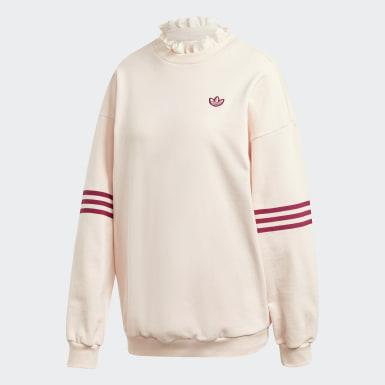 Women Originals Pink Ruffle Crew Sweatshirt