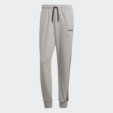 Muži Athletics Siva Tepláky Essentials 3-Stripes Tapered Cuffed