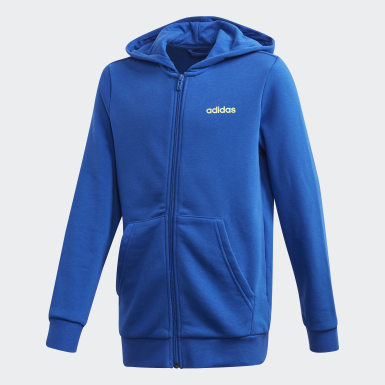Polerón con Capucha Essentials Linear Azul Niño Training