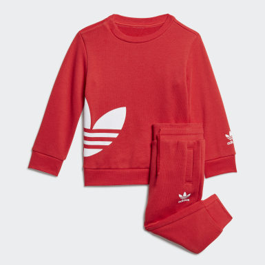 Ensemble Big Trefoil Crew Rouge Enfants Originals