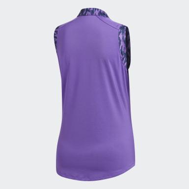 Women Golf Purple Ultimate365 Printed Sleeveless Polo Shirt