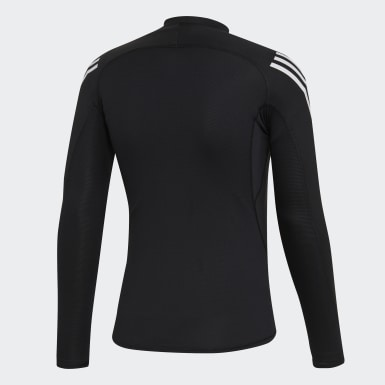 Men HIIT Black Alphaskin Sport+ 3-Stripes Long-Sleeve Top