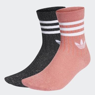 2 paires de chaussettes mi-montantes Full-Glitter Noir Femmes Originals
