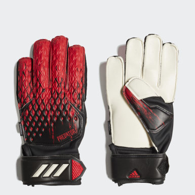 Youth 8-16 Years Football Black Predator 20 Match Fingersave Goalkeeper Gloves