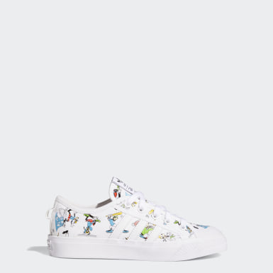 Youth 8-16 Years Originals White Nizza x Disney Sport Goofy Shoes