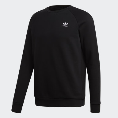Men Originals Black Trefoil Essentials Crewneck Sweatshirt
