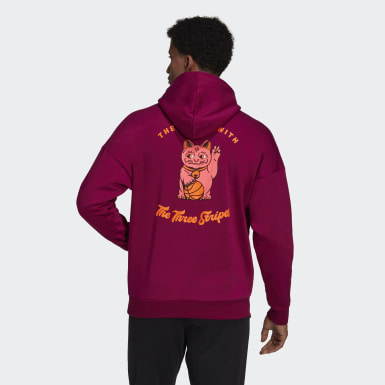 Men's Athletics Purple The Lucky Cat Graphic Hoodie