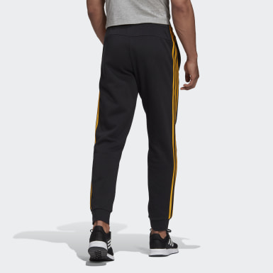 Men Essentials Black Essentials 3-Stripes Tapered Cuffed Pants