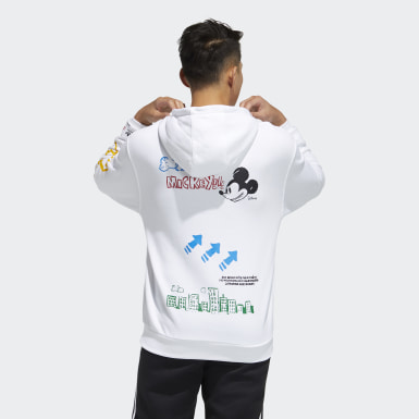 Men Originals White Mickey Mouse Graphic Hoodie