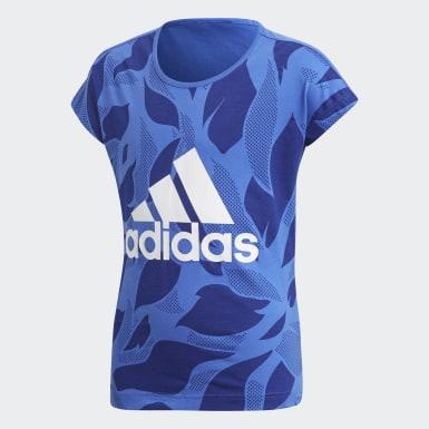 T-shirt Linear Print Bleu Enfants Athletics