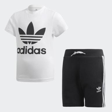 เด็กผู้ชาย Originals สีขาว ชุดเสื้อและกางเกง Trefoil