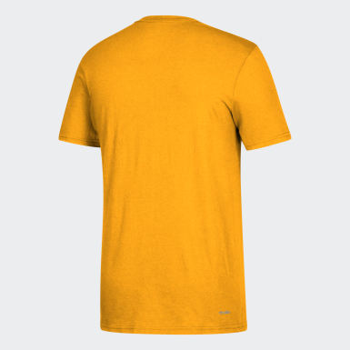 Men's Sport Inspired Yellow Badge of Sport Tee