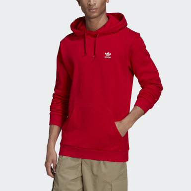 Men Originals Red LOUNGEWEAR Trefoil Essentials Hoodie