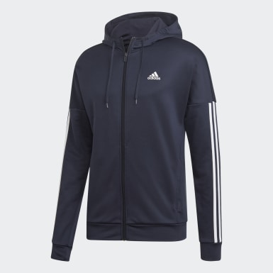 Men Athletics Blue 3-Stripes Hooded Track Suit