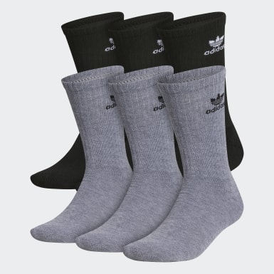 Men's Originals Grey Trefoil Crew Socks 6 Pairs