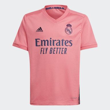 Kinder Fußball Real Madrid 20/21 Junior-Auswärtsausrüstung Rosa