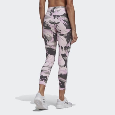 Women Athletics Grey adidas Essentials Camouflage 3-Stripes 7/8 Leggings