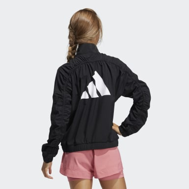Women Running Black Woven Badge of Sport Jacket