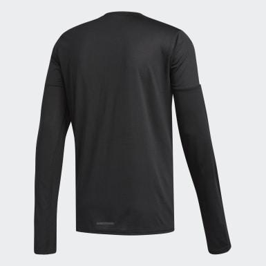 Men Running Black Running 3-Stripes Long-sleeve Top