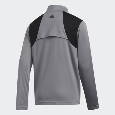 Boys Golf Grey 3-Stripes Half-Zip Pullover