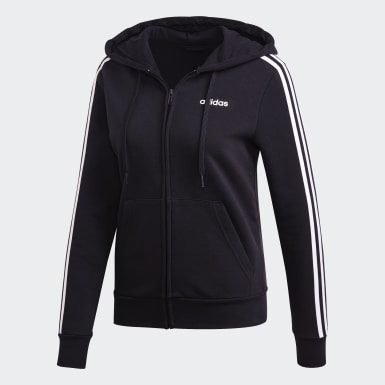 Women Lifestyle Black Essentials 3-Stripes Fleece Hoodie
