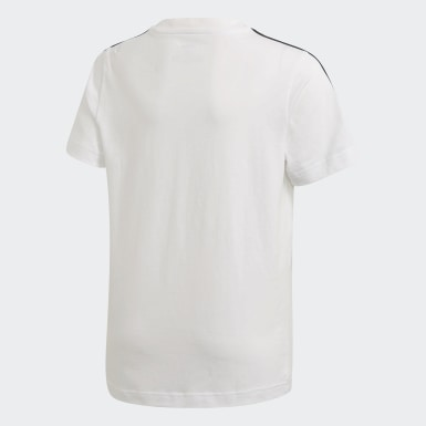 Jungen Athletics Essentials 3-Streifen T-Shirt Weiß