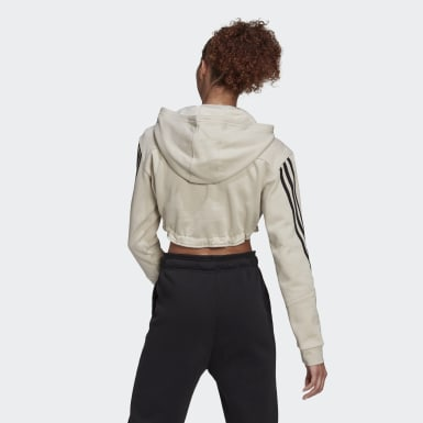 Women Athletics Grey Crop Hoodie
