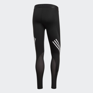 Mænd Udendørshockey Sort Alphaskin Sport+ Long 3-Stripes tights