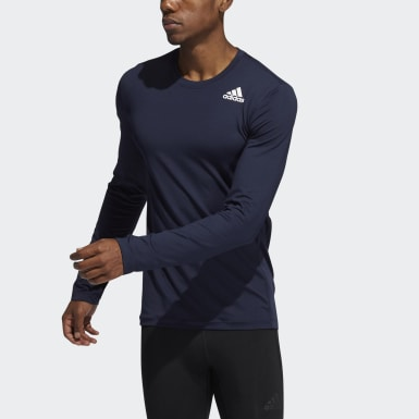 Men Training Blue Techfit Compression Long-Sleeve Top