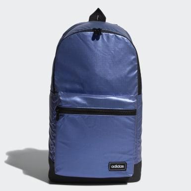 ผู้หญิง Sport Inspired สีน้ำเงิน กระเป๋าสะพายหลังเมทัลลิกทรงคลาสสิกขนาดกลาง