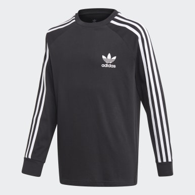 Youth 8-16 Years Originals Black 3-Stripes Long-Sleeve Top