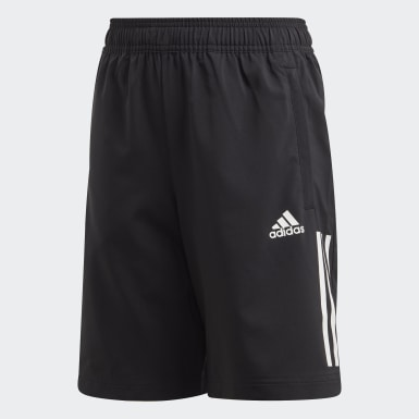 Boys Yoga Black 3-Stripes Shorts