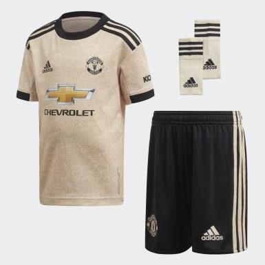 Kinder Fußball Manchester United Mini-Auswärtsausrüstung Beige