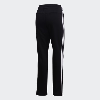 Women Training Black Essentials 3-Stripes Open Hem Pants