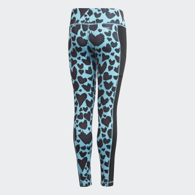 Girls Yoga Turquoise AEROREADY Printed Tights