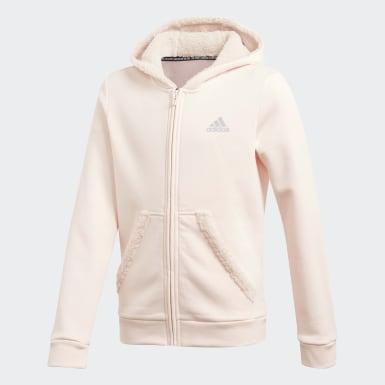 Girls Træning Pink Must Haves Winter Logo Full-Zip hættetrøje