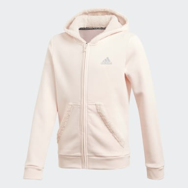Girls Training Pink Must Haves Winter Logo Full-Zip Hoodie