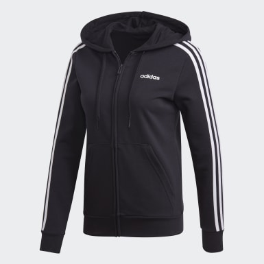 Campera Essentials 3 rayas Negro Mujer Training
