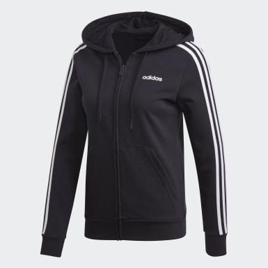 Women Lifestyle Black Essentials 3-Stripes Hoodie