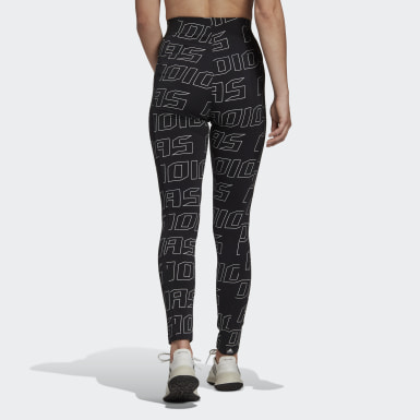 Women Athletics Black Graphic Tights