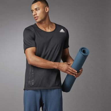 Men's Yoga Black AEROREADY 3-Stripes Flow Primeblue Tee