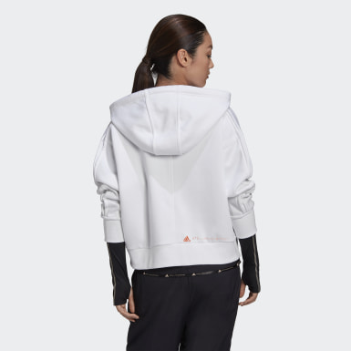 Dames adidas by Stella McCartney Wit adidas by Stella McCartney Cropped Ritshoodie