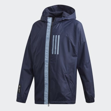 Jungen Training Parley Windbreaker Blau