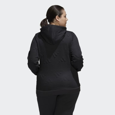 Kvinder Athletics Sort AEROREADY Jacquard Full-Zip Logo (Plus Size) hættetrøje