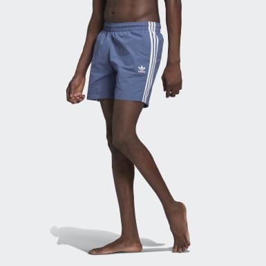 Men Originals Blue Adicolor Classics 3-Stripes Swim Shorts
