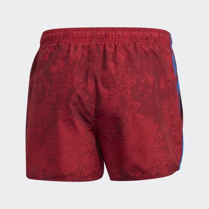 streifen Collegiate Deutschland Burgundy Adidas 3 Rot Print Allover Badeshorts E92IDH